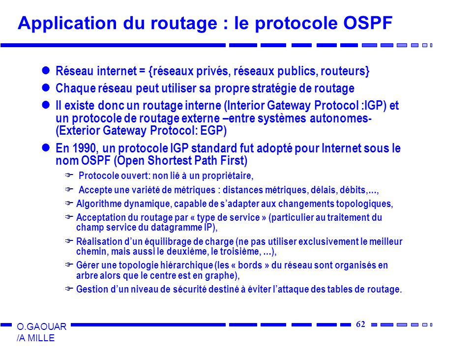 Application du routage : le protocole OSPF