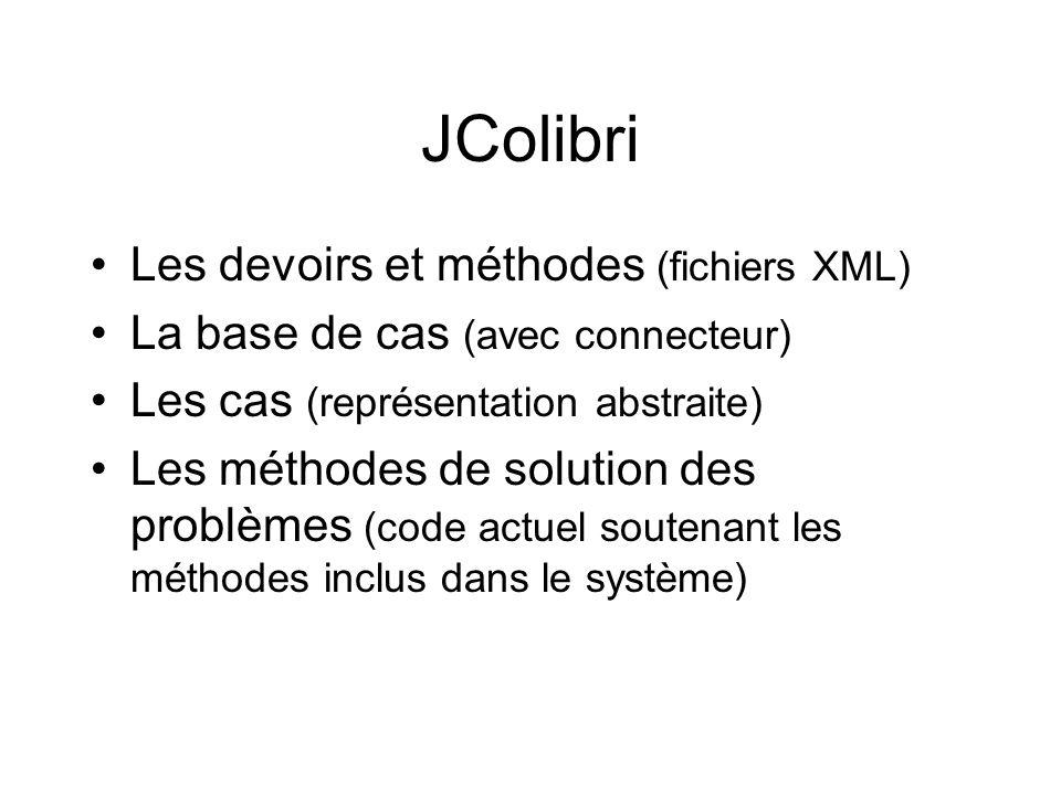 JColibri Les devoirs et méthodes (fichiers XML)