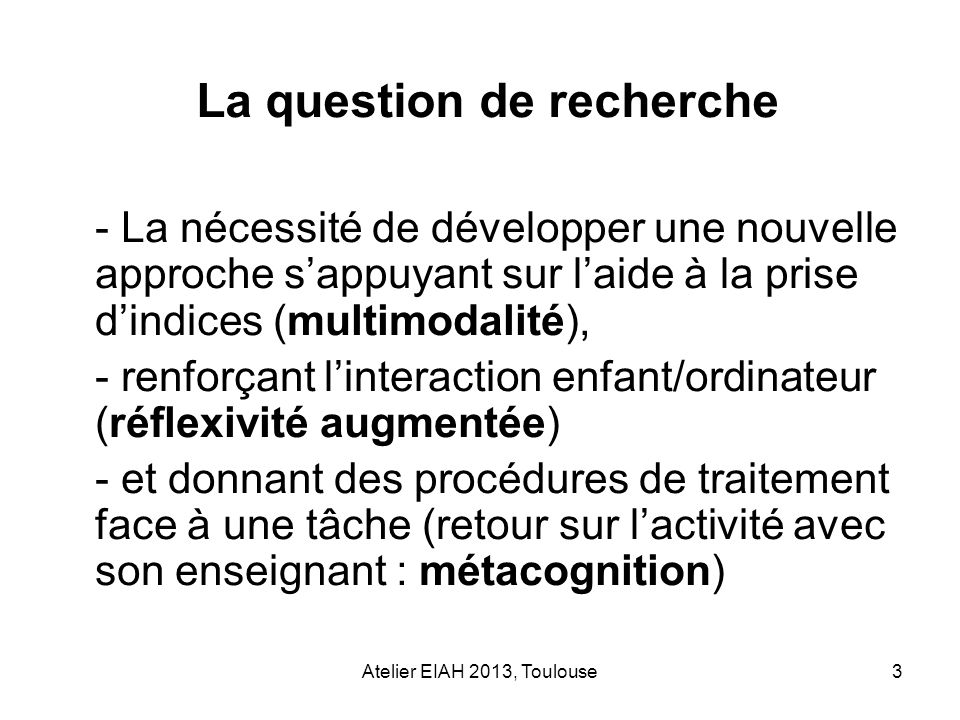 La question de recherche