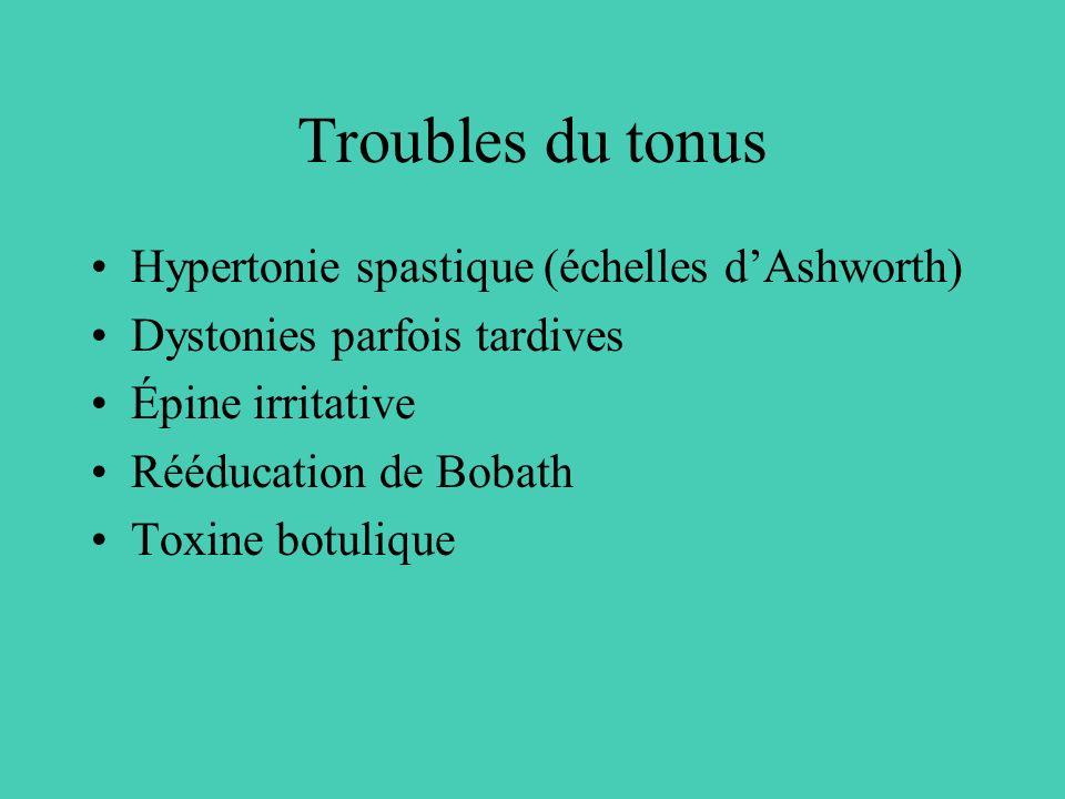 Troubles du tonus Hypertonie spastique (échelles d'Ashworth)
