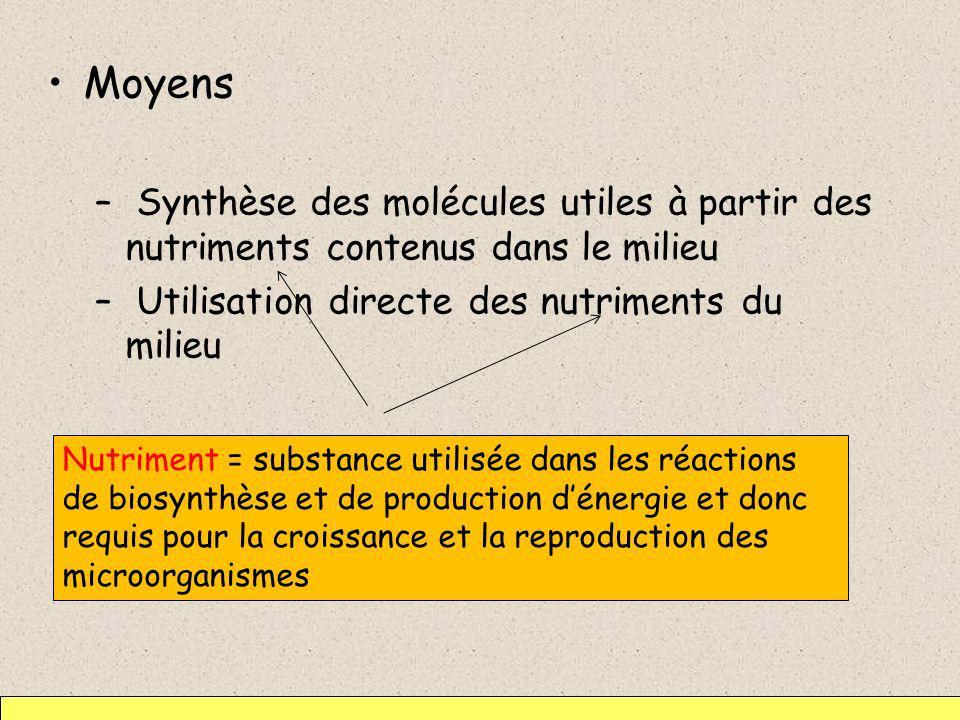 Moyens Synthèse des molécules utiles à partir des nutriments contenus dans le milieu. Utilisation directe des nutriments du milieu.