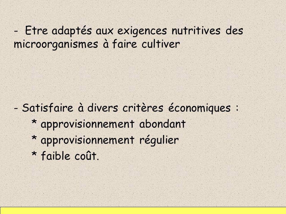 - Satisfaire à divers critères économiques :