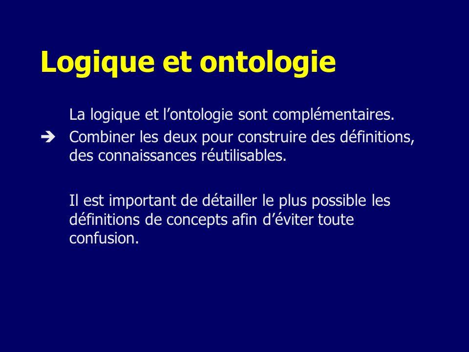 Logique et ontologie La logique et l'ontologie sont complémentaires.
