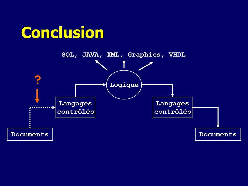 Conclusion SQL, JAVA, XML, Graphics, VHDL Logique Langages contrôlés