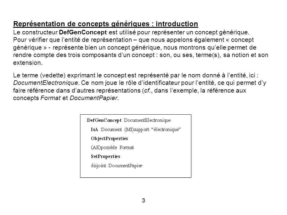 Représentation de concepts génériques : introduction