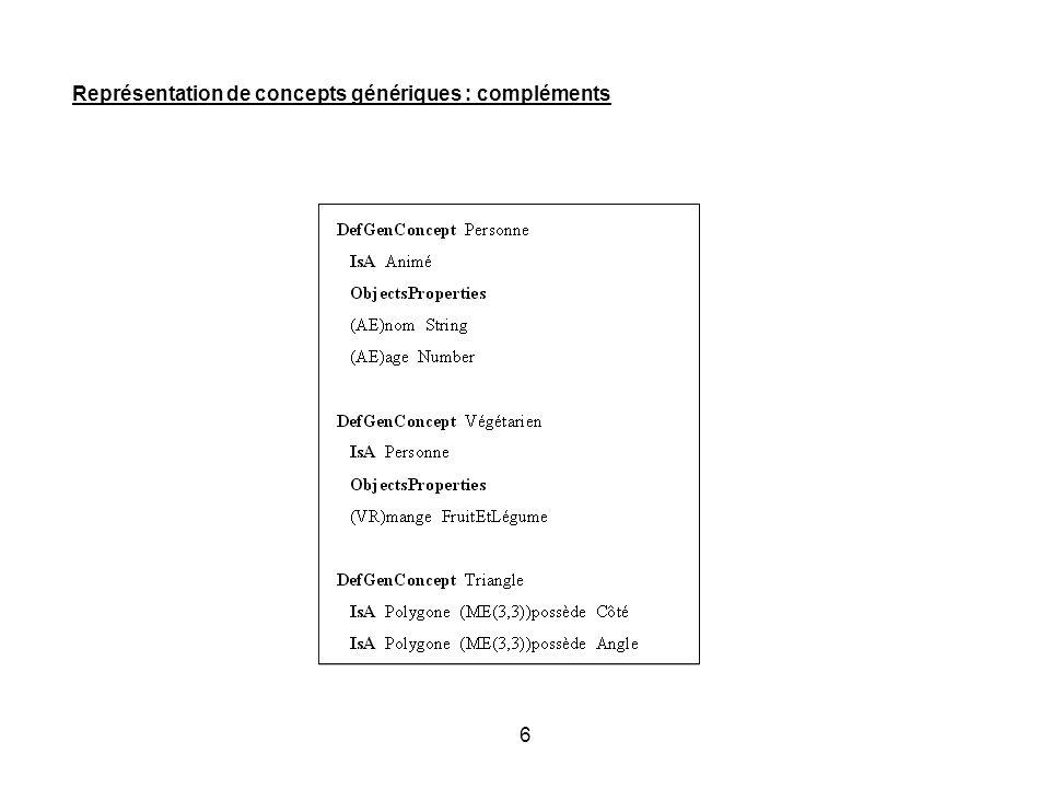 Représentation de concepts génériques : compléments