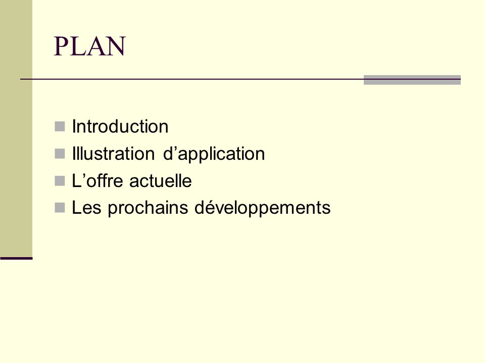 PLAN Introduction Illustration d'application L'offre actuelle