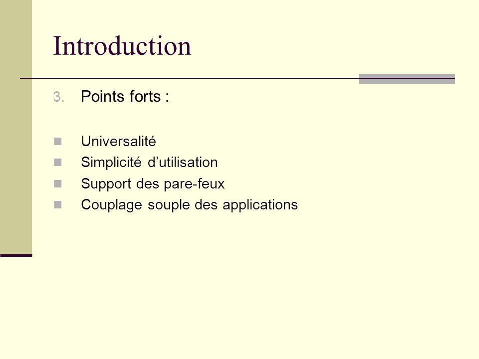 Introduction Points forts : Universalité Simplicité d'utilisation