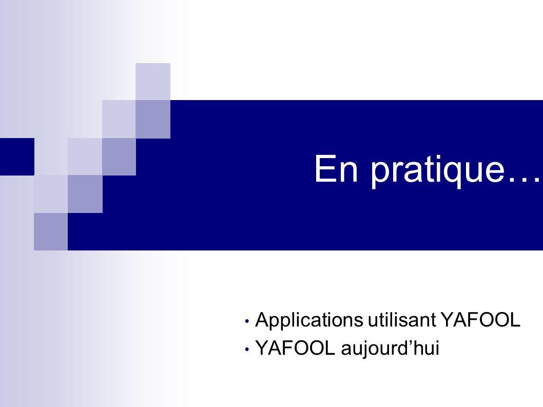 Applications utilisant YAFOOL YAFOOL aujourd'hui