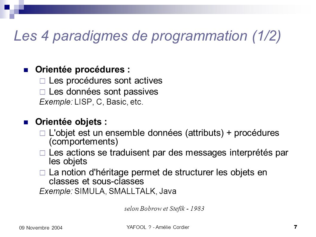 Les 4 paradigmes de programmation (1/2)