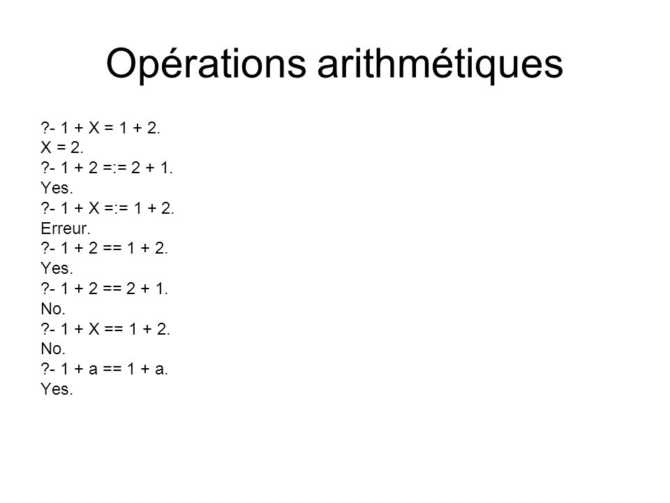 Opérations arithmétiques