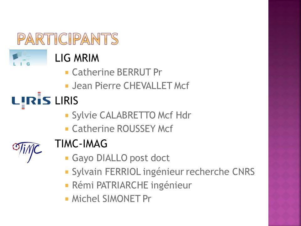 Participants LIG MRIM LIRIS TIMC-IMAG Catherine BERRUT Pr
