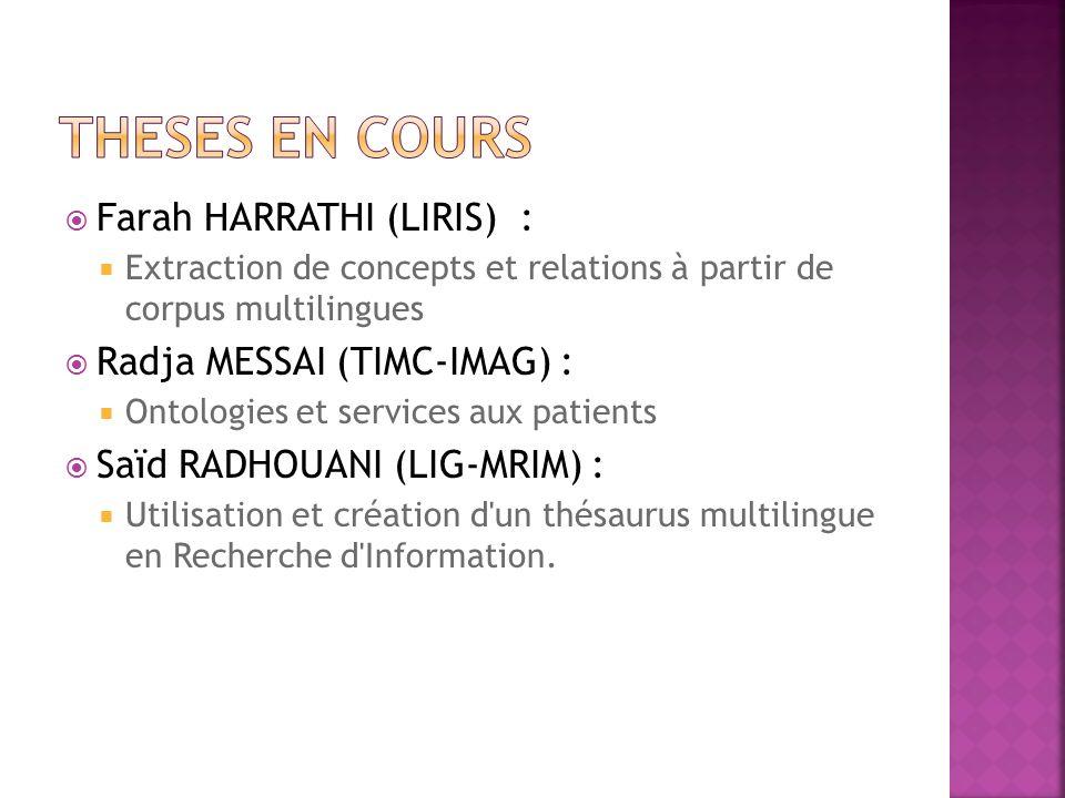 Theses en cours Farah HARRATHI (LIRIS) : Radja MESSAI (TIMC-IMAG) :