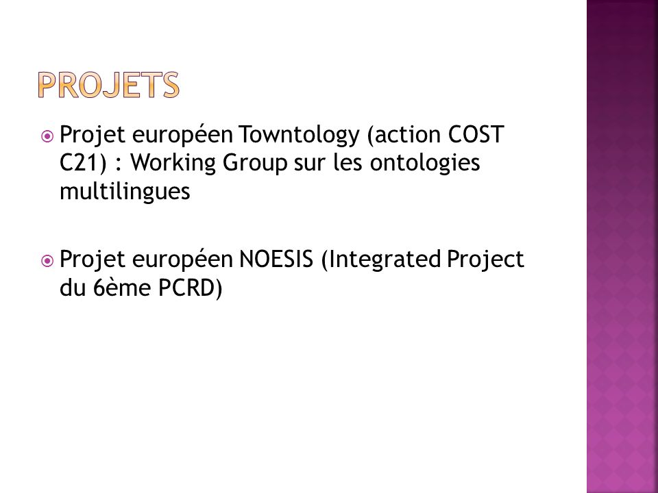 Projets Projet européen Towntology (action COST C21) : Working Group sur les ontologies multilingues.