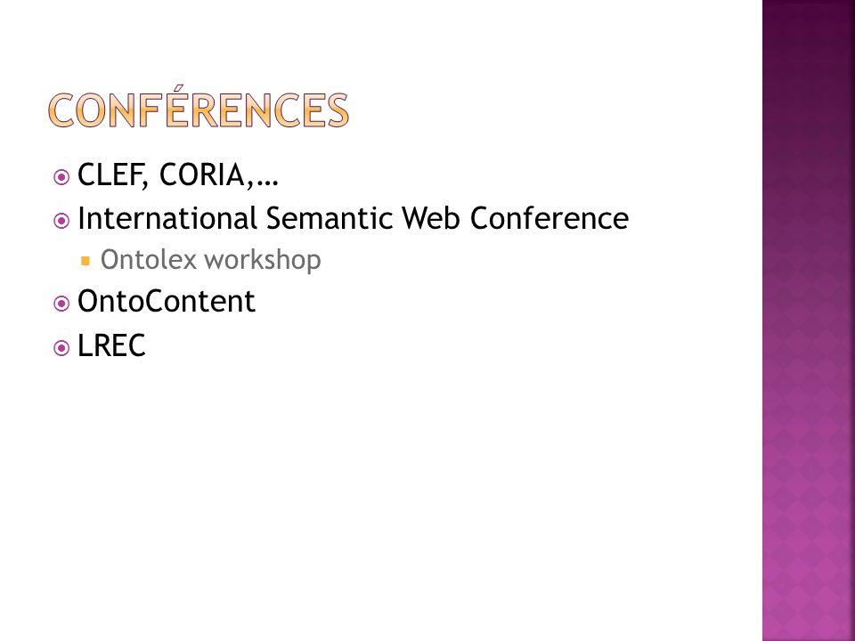 Conférences CLEF, CORIA,… International Semantic Web Conference