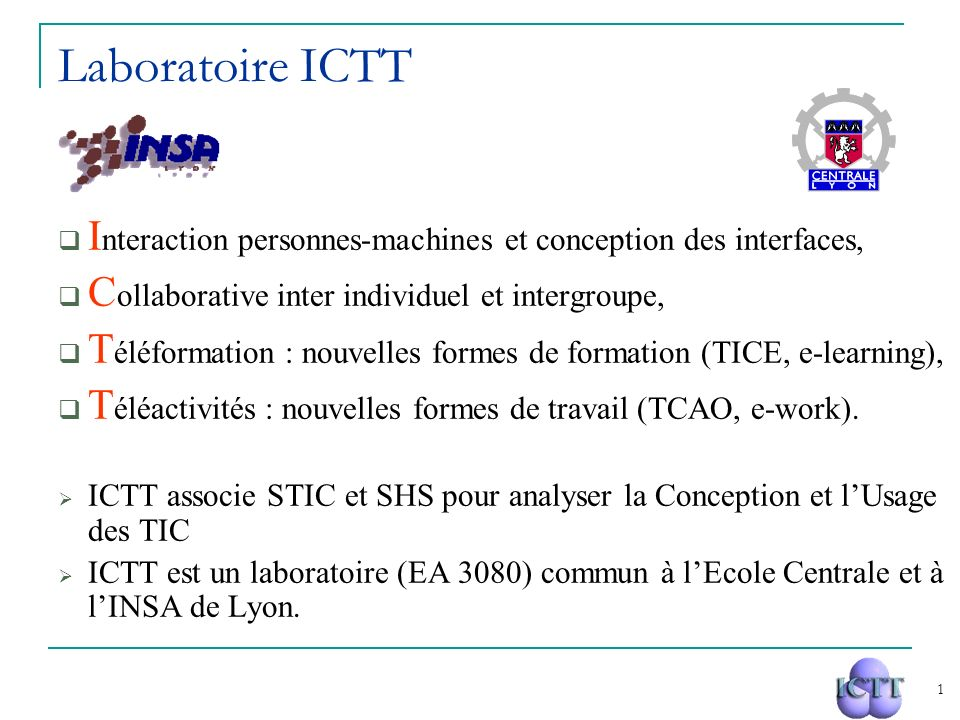 Laboratoire ICTT Interaction personnes-machines et conception des interfaces, Collaborative inter individuel et intergroupe,