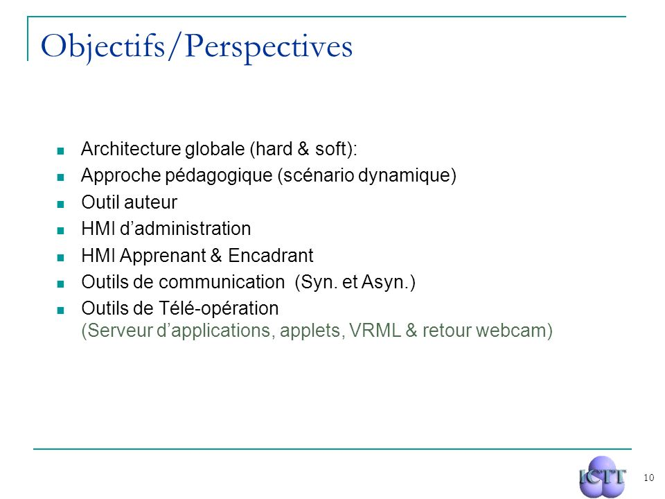 Objectifs/Perspectives