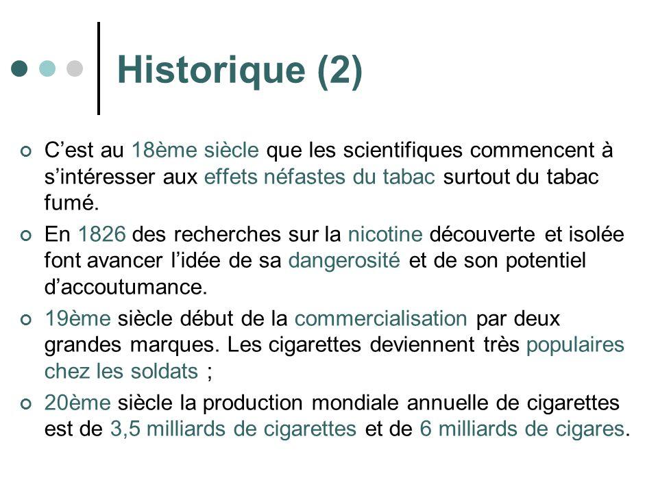 Historique (2) C'est au 18ème siècle que les scientifiques commencent à s'intéresser aux effets néfastes du tabac surtout du tabac fumé.