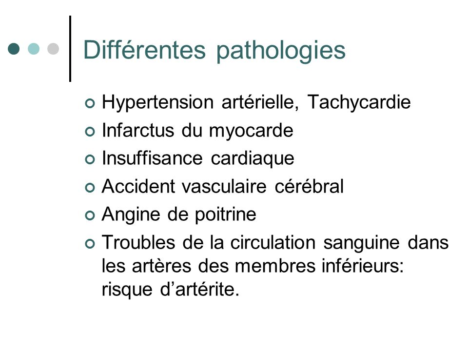Différentes pathologies