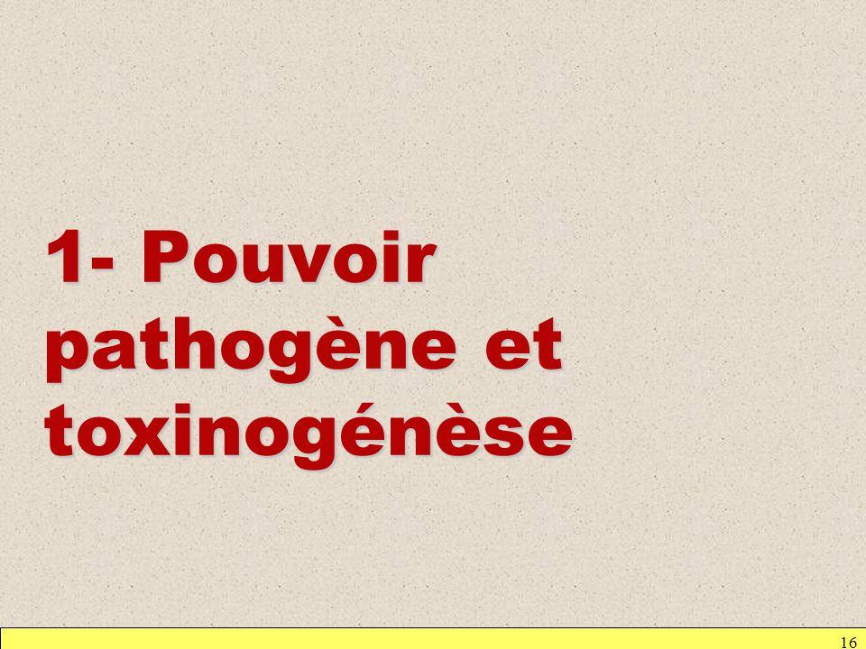 1- Pouvoir pathogène et toxinogénèse