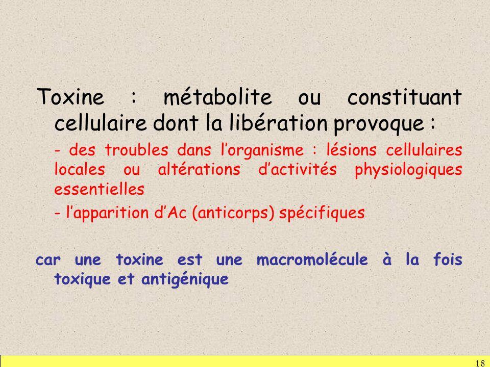 Toxine : métabolite ou constituant cellulaire dont la libération provoque :
