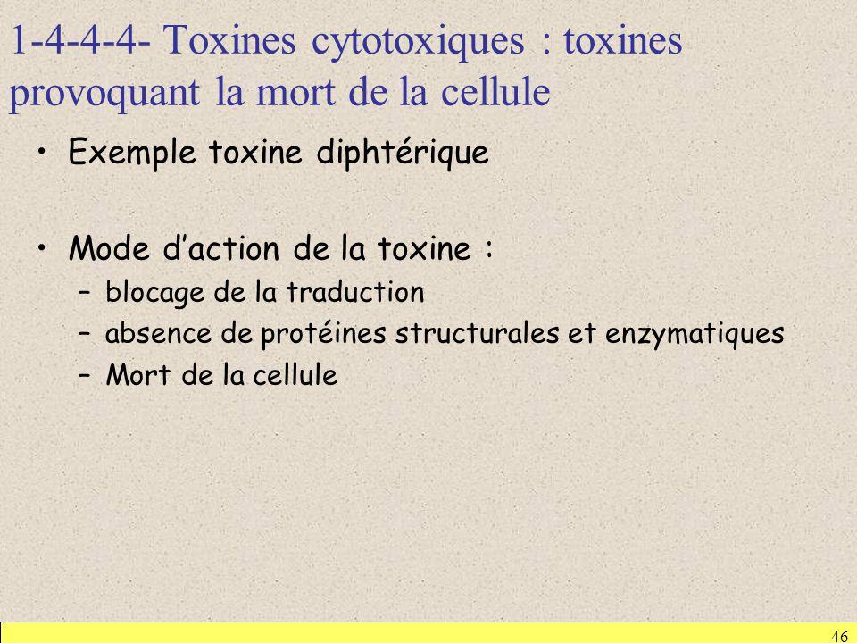 1-4-4-4- Toxines cytotoxiques : toxines provoquant la mort de la cellule