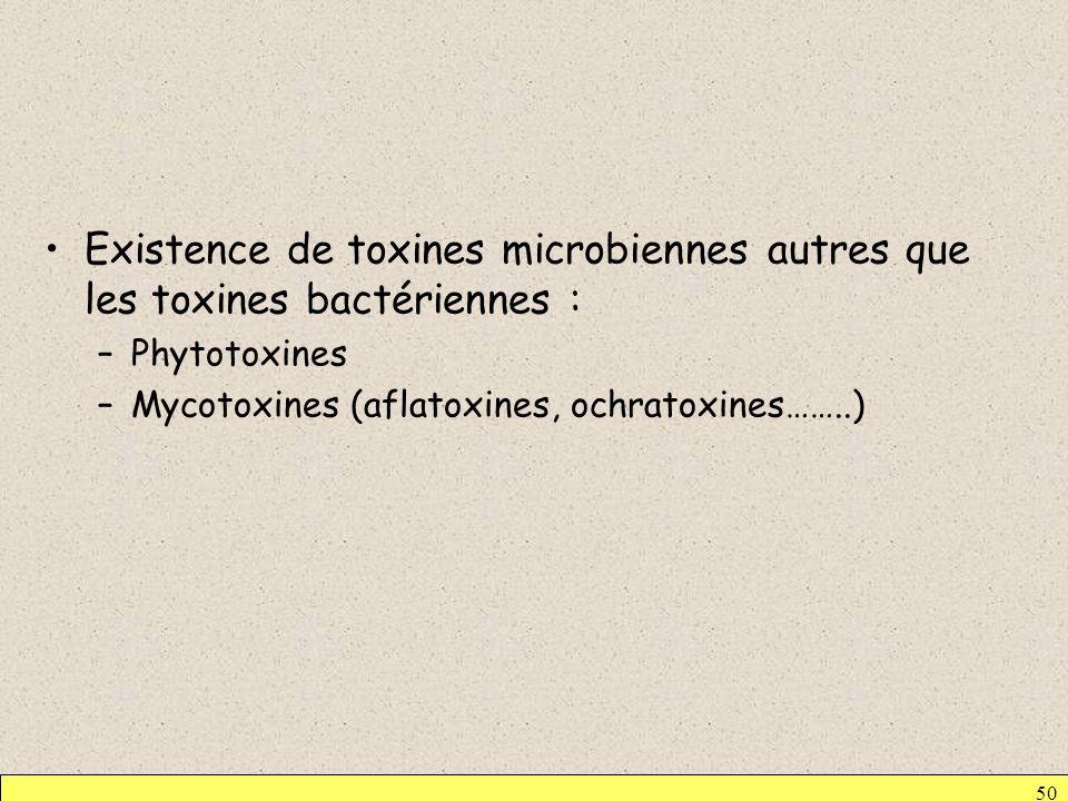 Existence de toxines microbiennes autres que les toxines bactériennes :