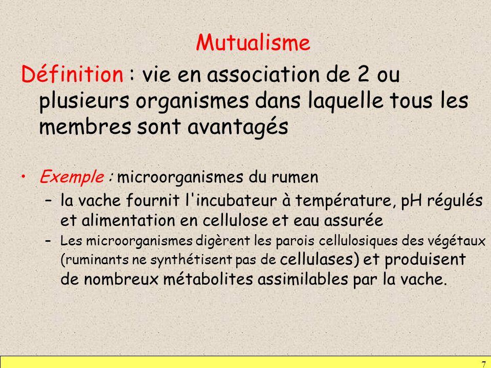 Mutualisme Définition : vie en association de 2 ou plusieurs organismes dans laquelle tous les membres sont avantagés.