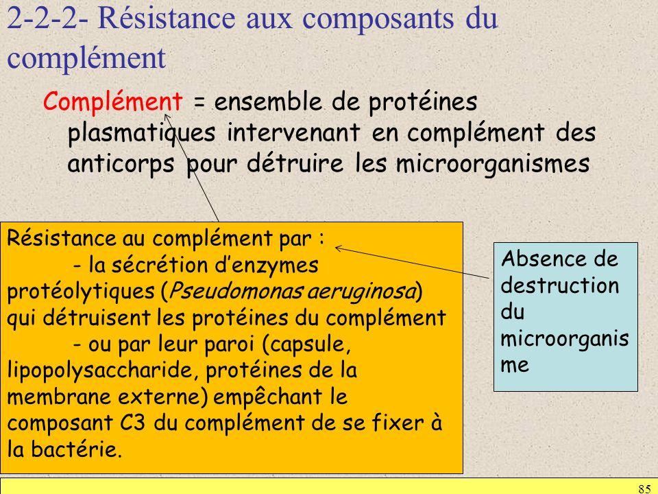 2-2-2- Résistance aux composants du complément