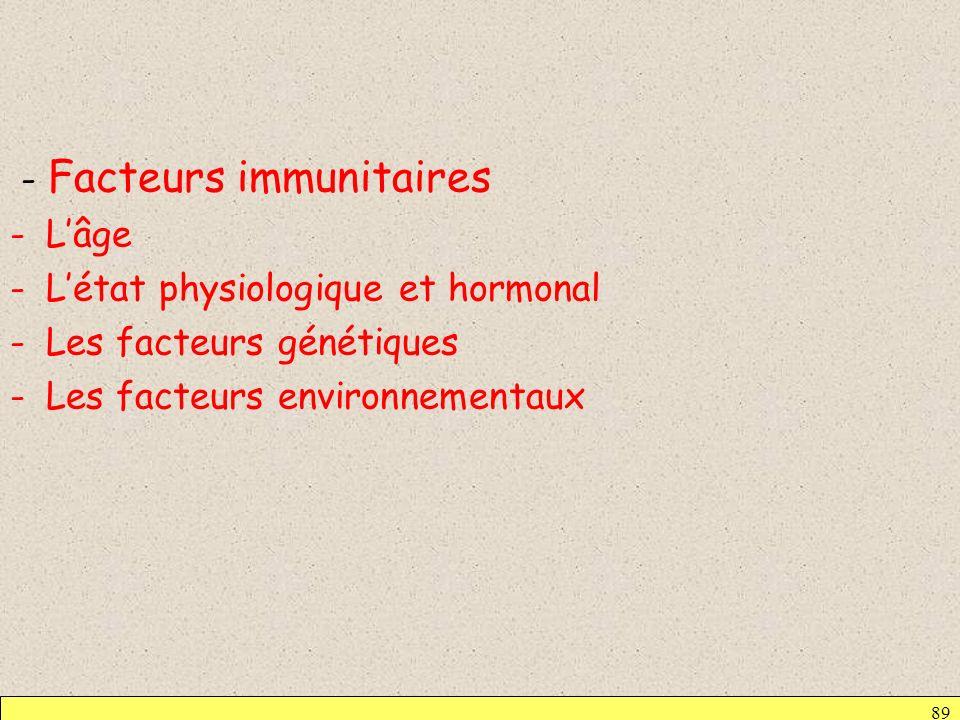 - Facteurs immunitaires