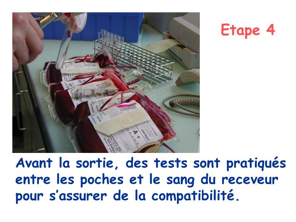 Etape 4 Avant la sortie, des tests sont pratiqués entre les poches et le sang du receveur pour s'assurer de la compatibilité.