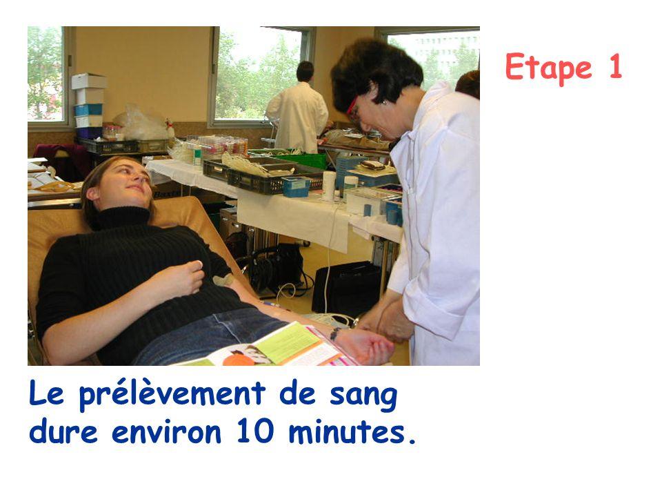 Etape 1 Le prélèvement de sang dure environ 10 minutes.