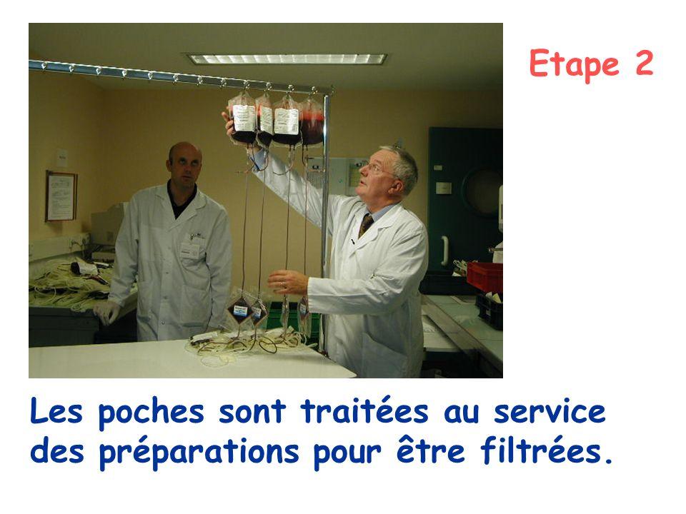 Etape 2 Les poches sont traitées au service des préparations pour être filtrées.