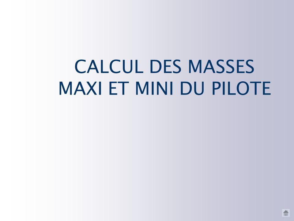 CALCUL DES MASSES MAXI ET MINI DU PILOTE