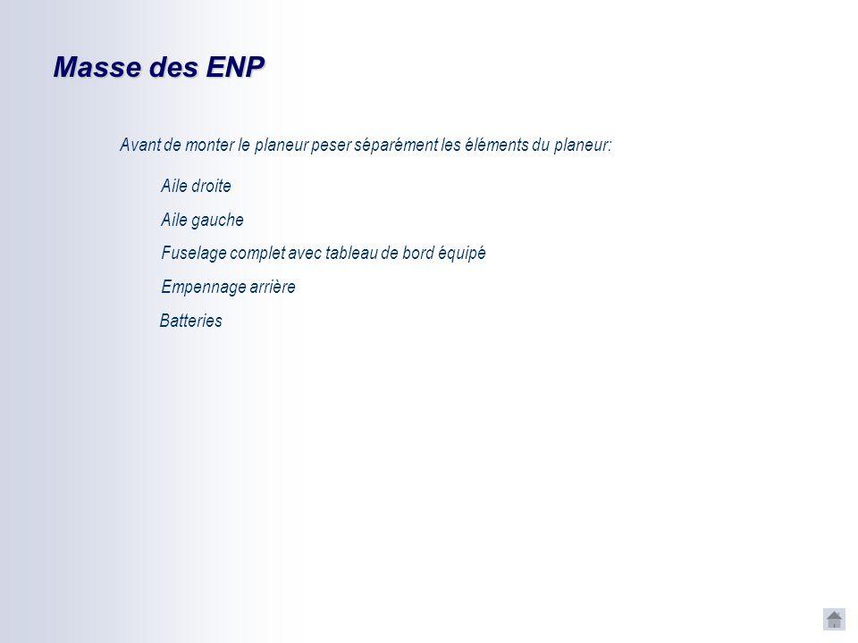 Masse des ENP Avant de monter le planeur peser séparément les éléments du planeur: Aile droite. Aile gauche.