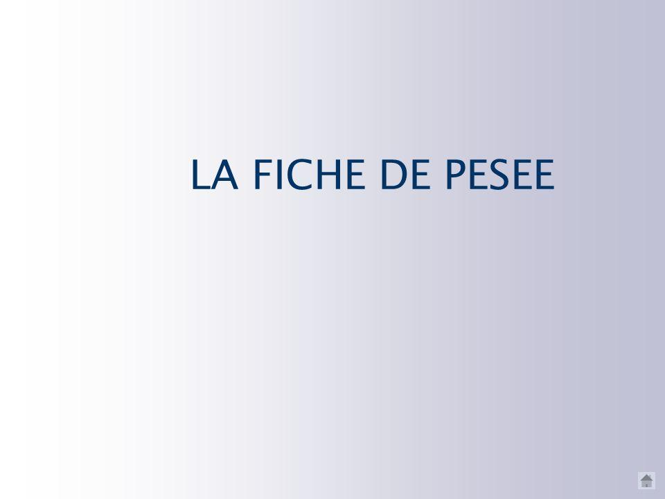 LA FICHE DE PESEE