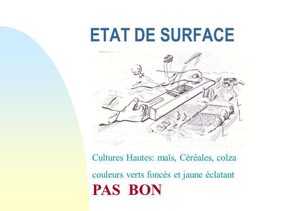 ETAT DE SURFACE Cultures Hautes: maïs, Céréales, colza