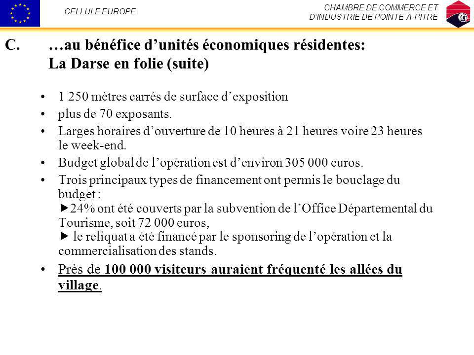 CHAMBRE DE COMMERCE ET D'INDUSTRIE DE POINTE-A-PITRE. CELLULE EUROPE. …au bénéfice d'unités économiques résidentes: La Darse en folie (suite)