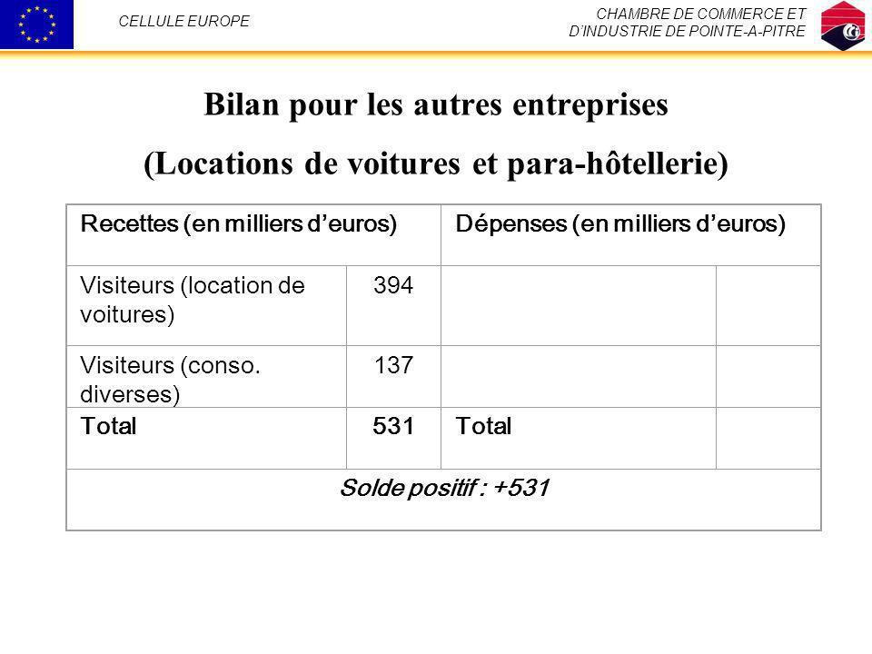 CHAMBRE DE COMMERCE ET D'INDUSTRIE DE POINTE-A-PITRE. CELLULE EUROPE. Bilan pour les autres entreprises (Locations de voitures et para-hôtellerie)