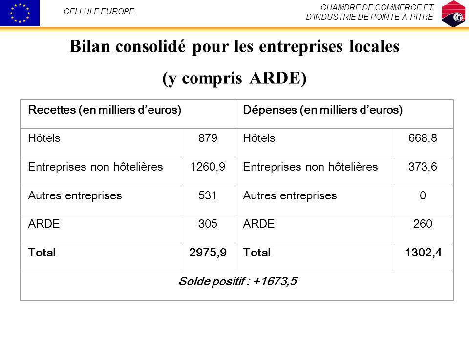 Bilan consolidé pour les entreprises locales (y compris ARDE)