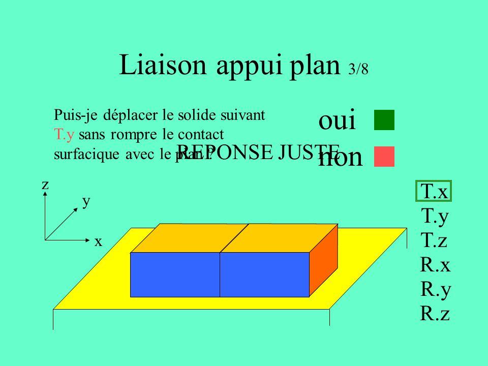 Liaison appui plan 3/8 oui non REPONSE JUSTE T.x T.y T.z R.x R.y R.z