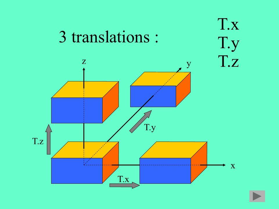 T.x 3 translations : T.y T.z z y T.y T.z x T.x
