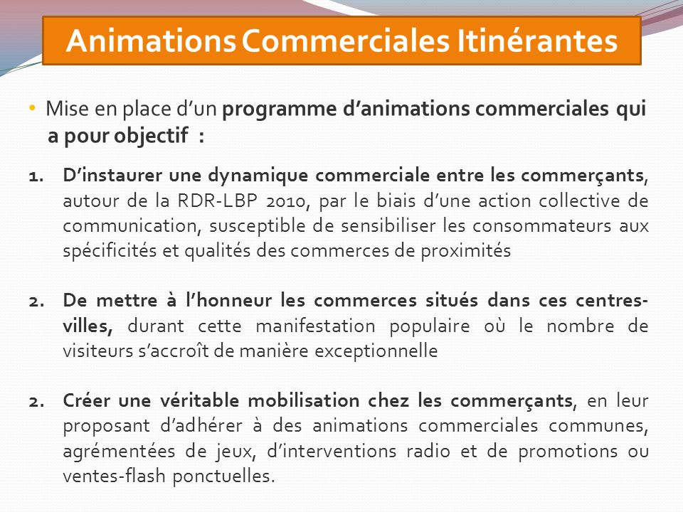 Animations Commerciales Itinérantes