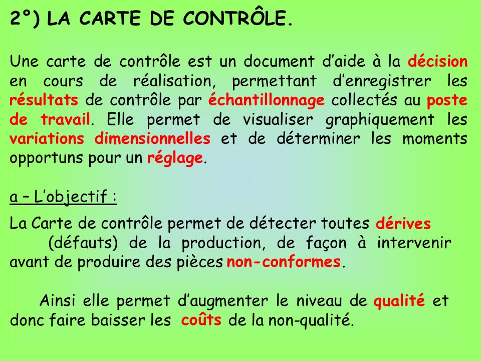 2°) LA CARTE DE CONTRÔLE.