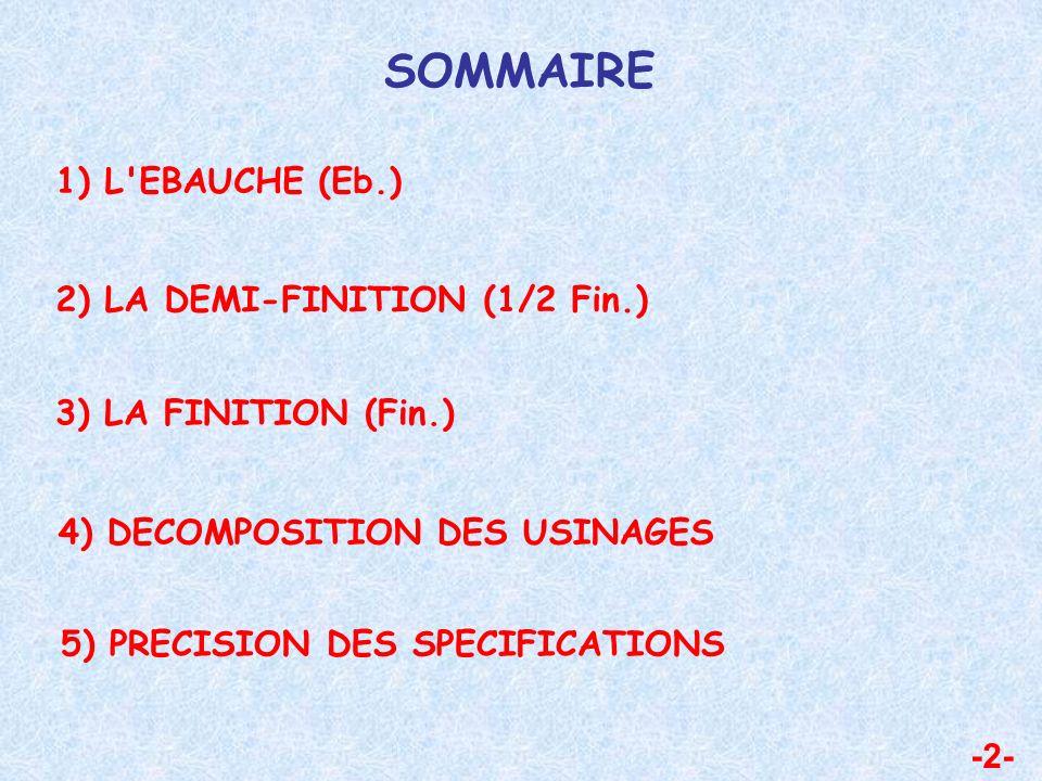 SOMMAIRE 1) L EBAUCHE (Eb.) 2) LA DEMI-FINITION (1/2 Fin.)