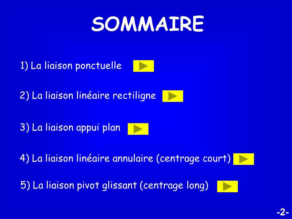 SOMMAIRE 1) La liaison ponctuelle 2) La liaison linéaire rectiligne