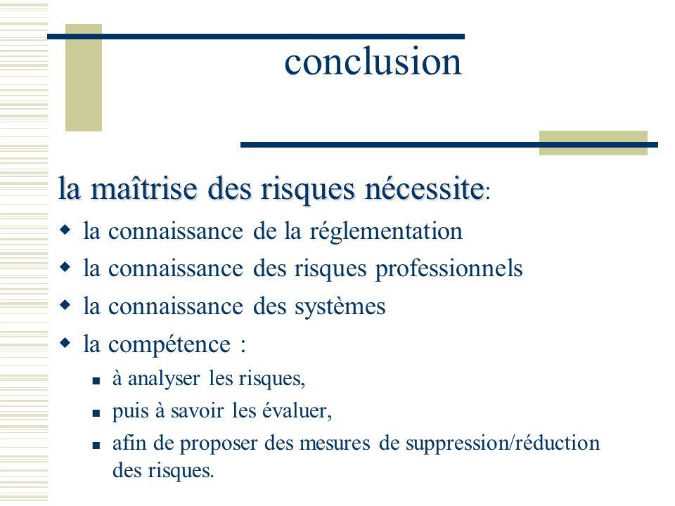 conclusion la maîtrise des risques nécessite: