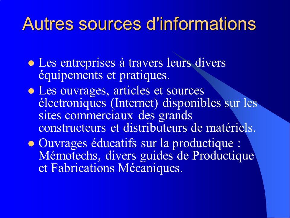 Autres sources d informations