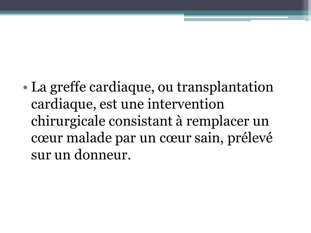 La greffe cardiaque, ou transplantation cardiaque, est une intervention chirurgicale consistant à remplacer un cœur malade par un cœur sain, prélevé sur un donneur.