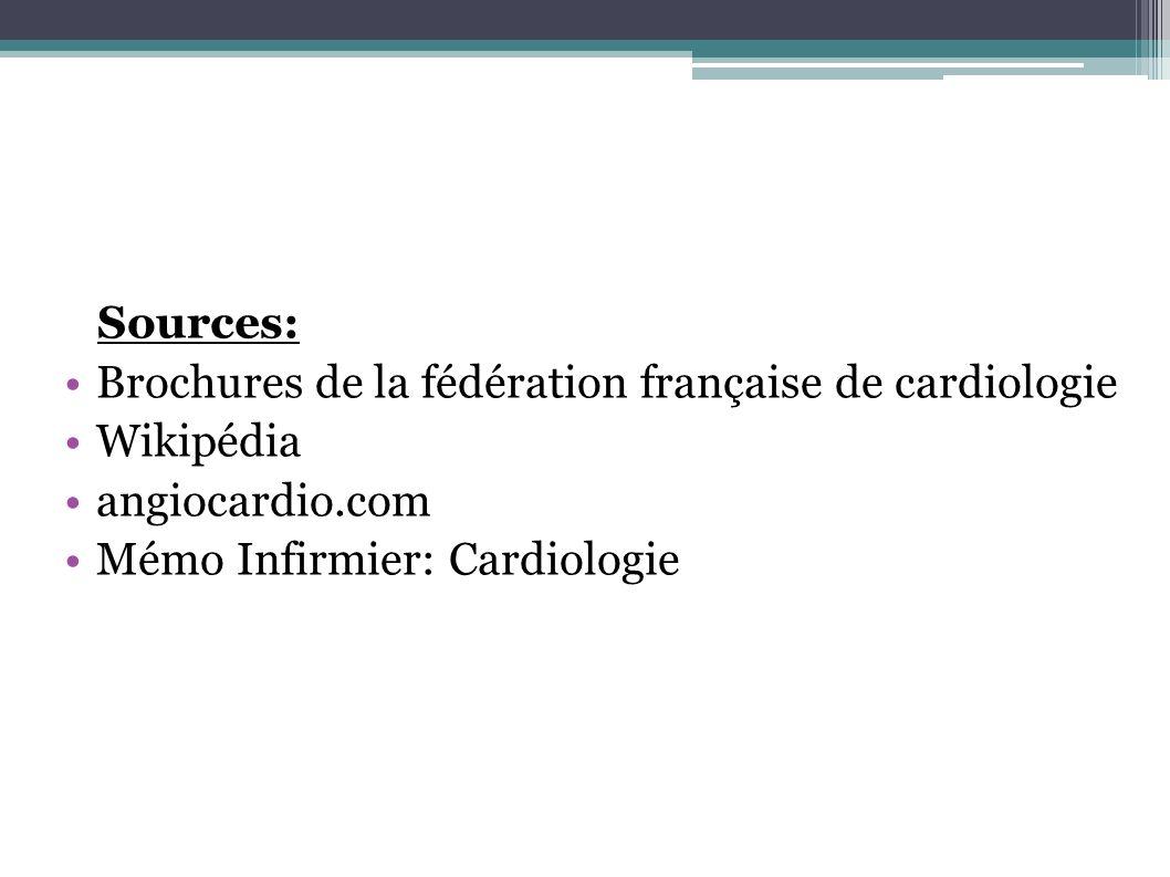 Sources:Brochures de la fédération française de cardiologie.